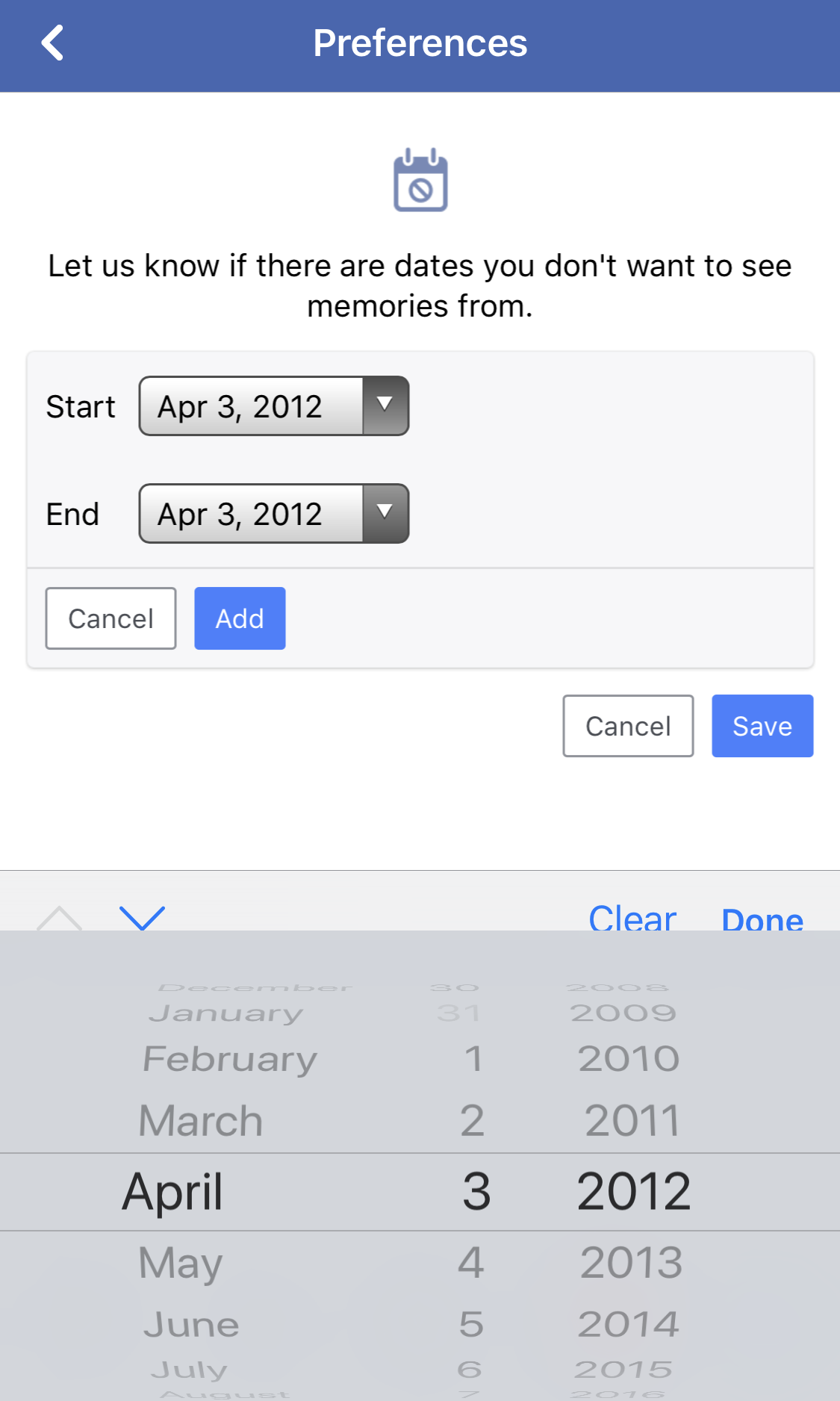 fb on this date ignore filter date range specify settings