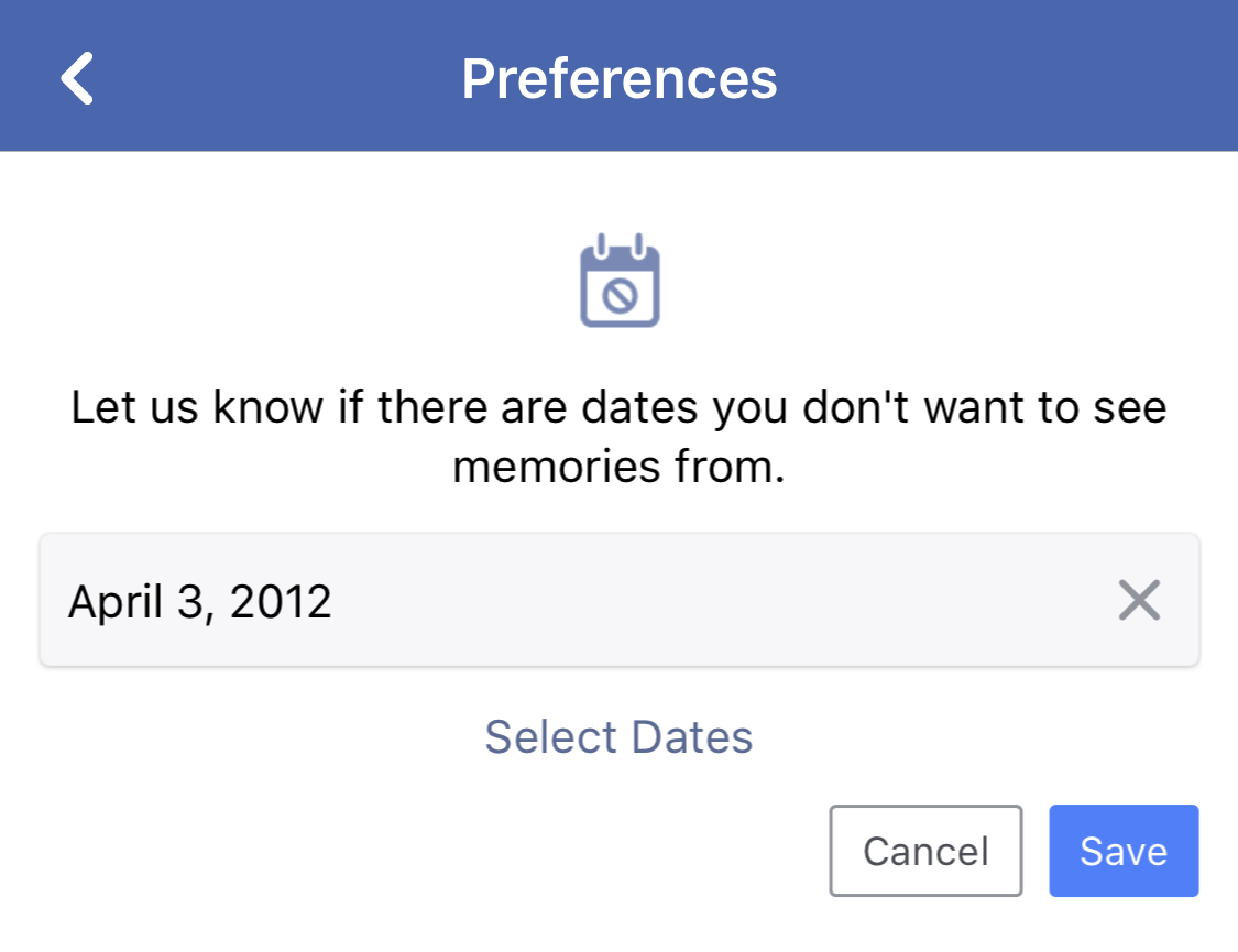 date filter setup facebook on this date