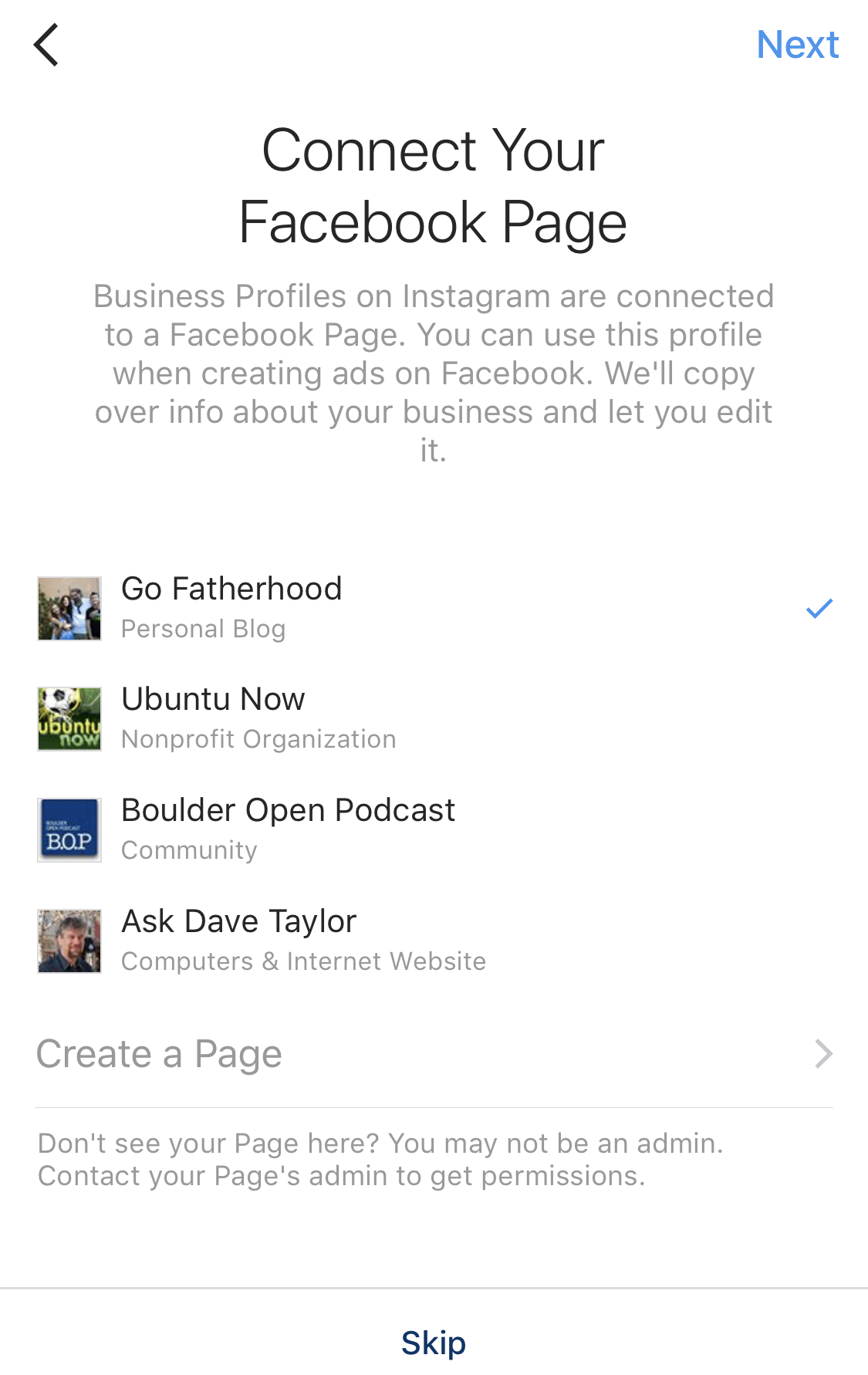 instagram business profile choose facebook page