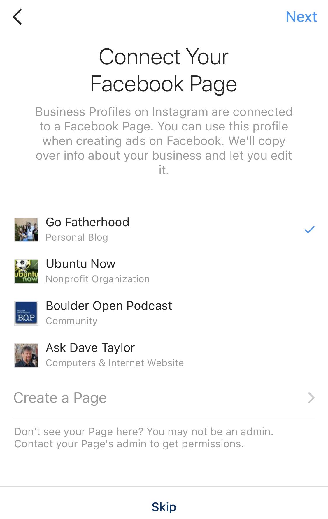 instagram business profile choose facebook page