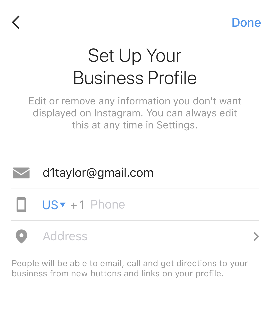 instagram set up your business profile