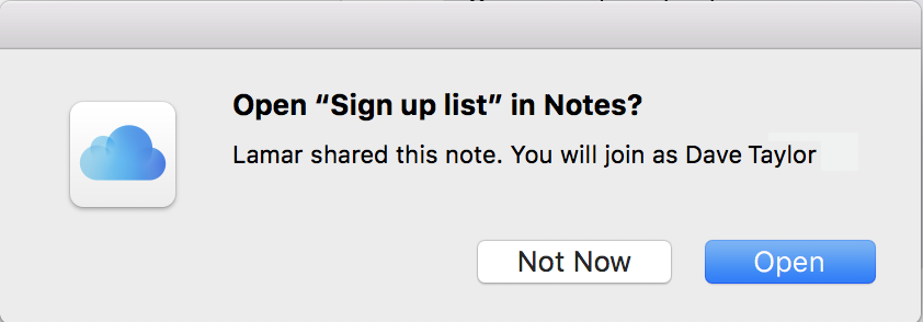 open document in Notes? Mac message