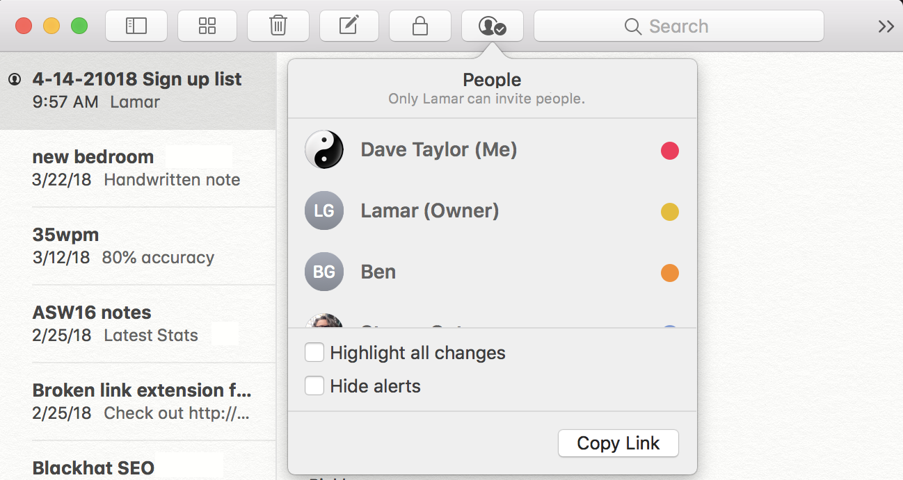 who has Mac note been shared with?