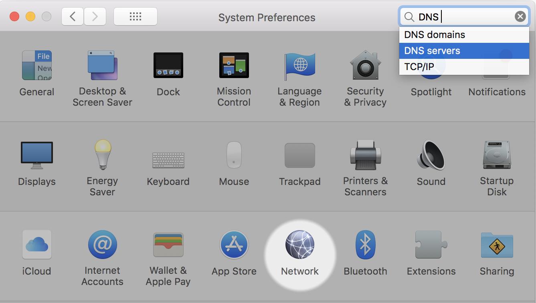 mac system preferences - dns server search