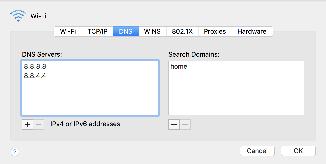 mac dns settings - google dns server