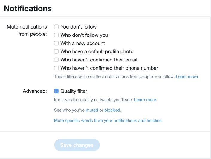 twitter notification settings