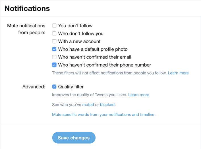 twitter notification spam scam filter screening settings preferences