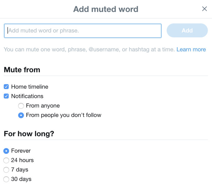 mute filter word words twitter feed