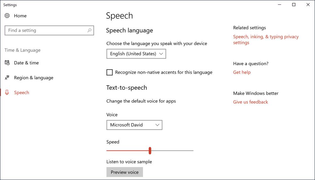 windows 10 win10 speech settings preferences