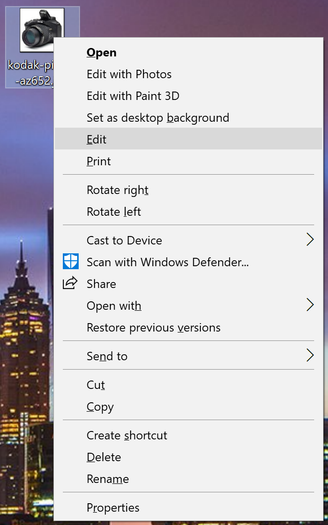 win10 image file context right-click menu