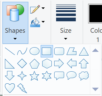 windows paint shapes rectangle