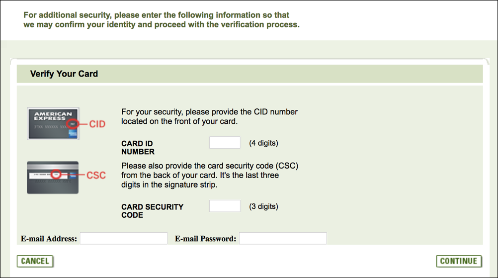 amex phishing - screen 2