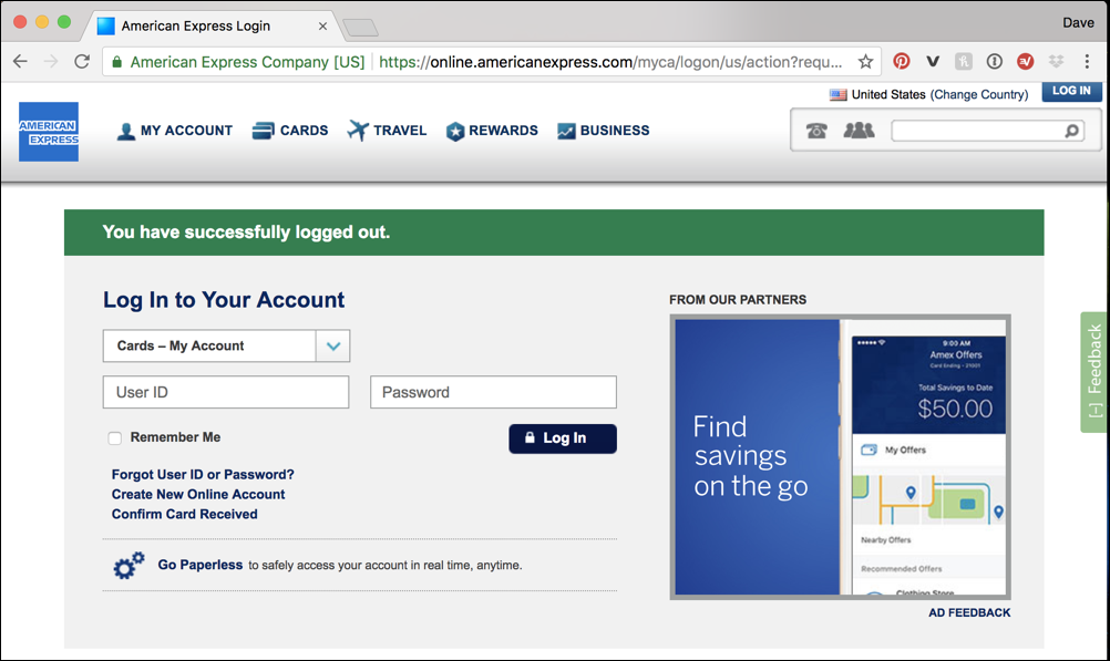 Am Ex Login >> Not Logged In To Amex Account Recently Ask Dave Taylor