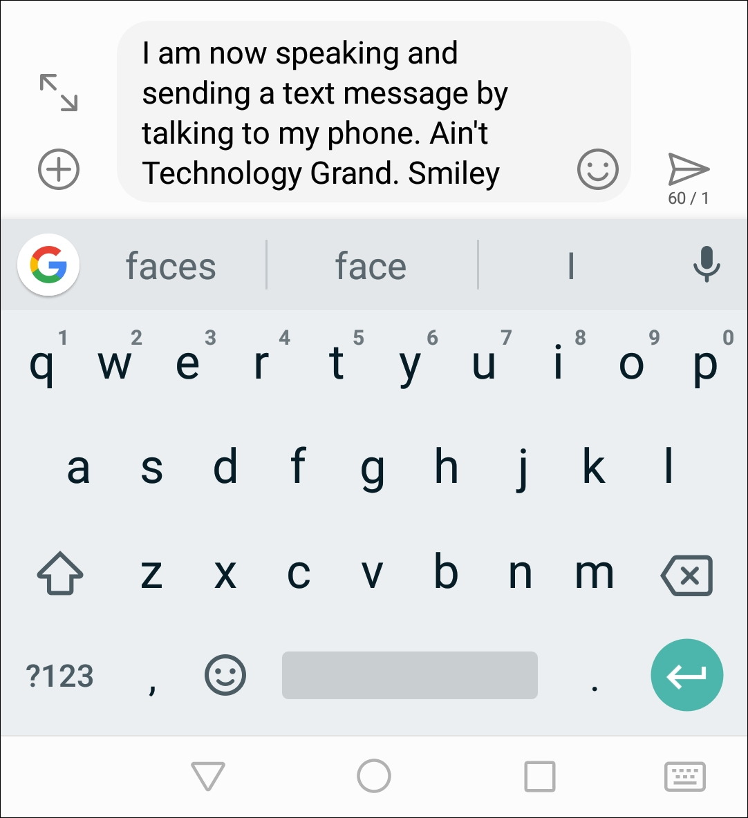 dictation android can't understand smiley