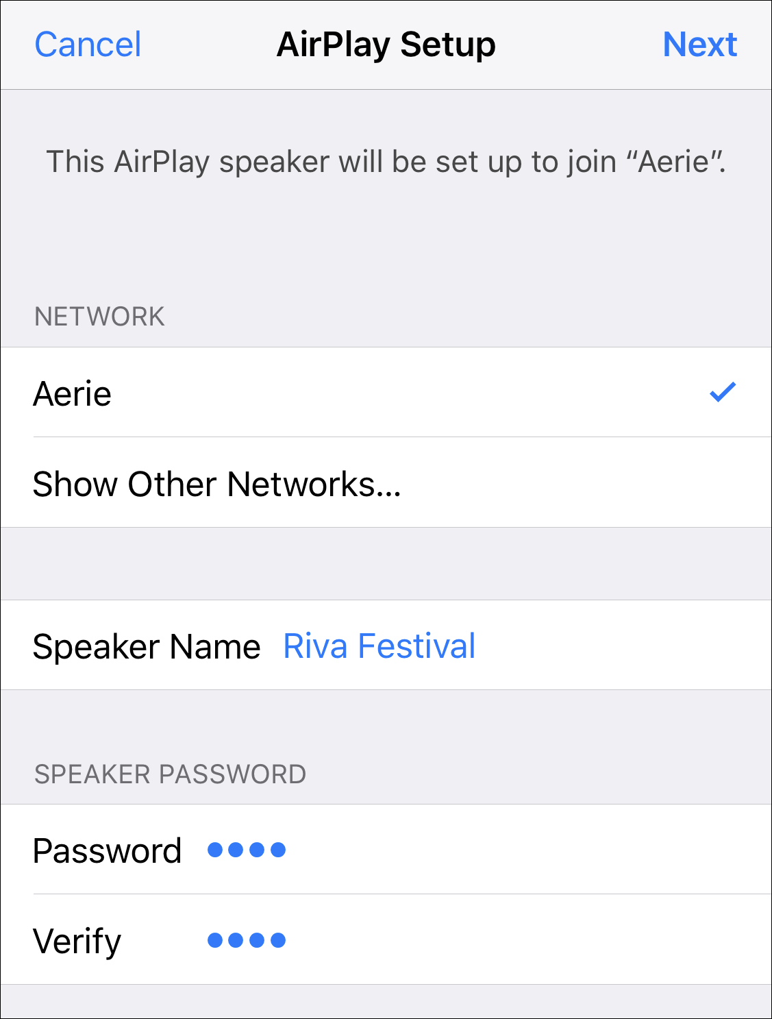airplay wifi configuration setup password
