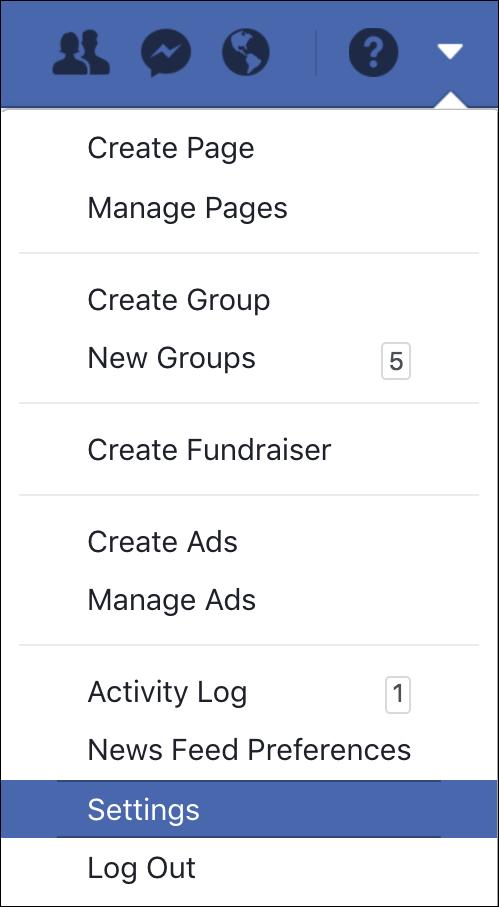 facebook > settings