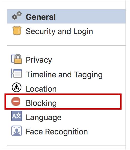 facebook > settings > blocking
