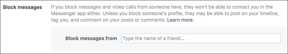 block users facebook messenger