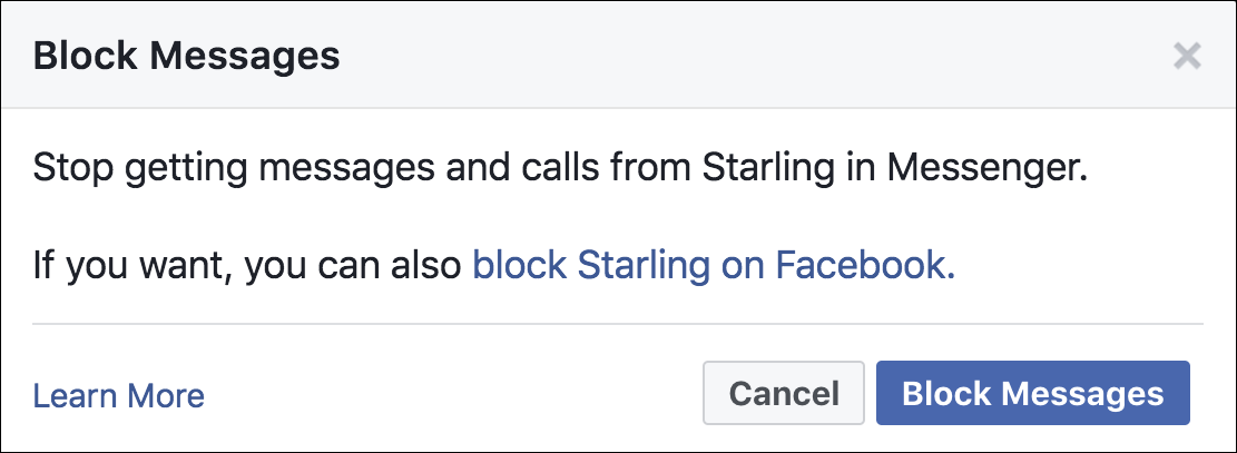 are you sure you want to block user facebook messenger