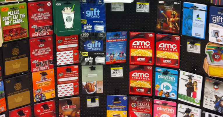 dangerous gift card display at supermarket