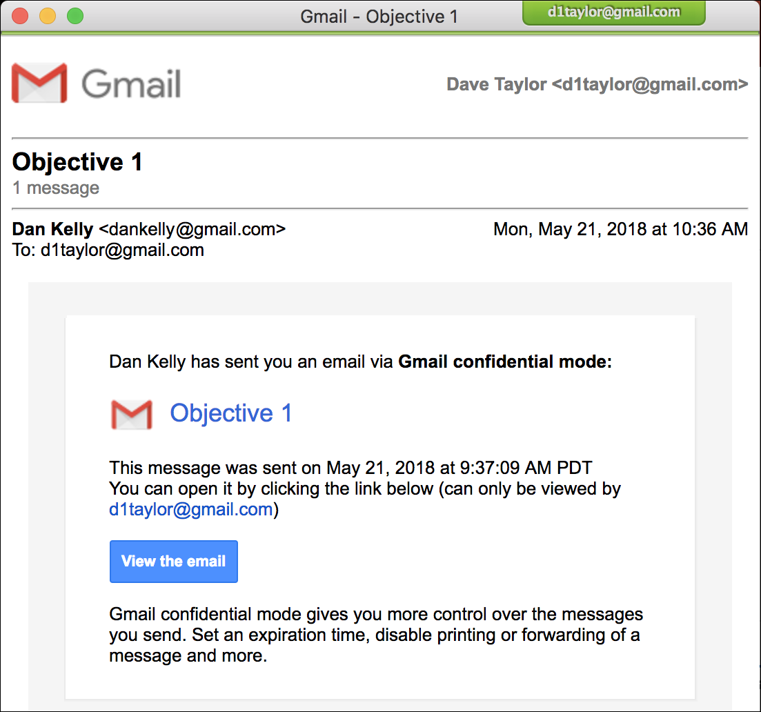 gmail print confidential email message