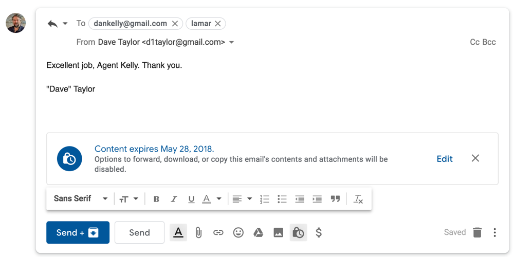 confidential gmail forwarded