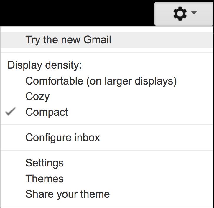 gmail classic main menu
