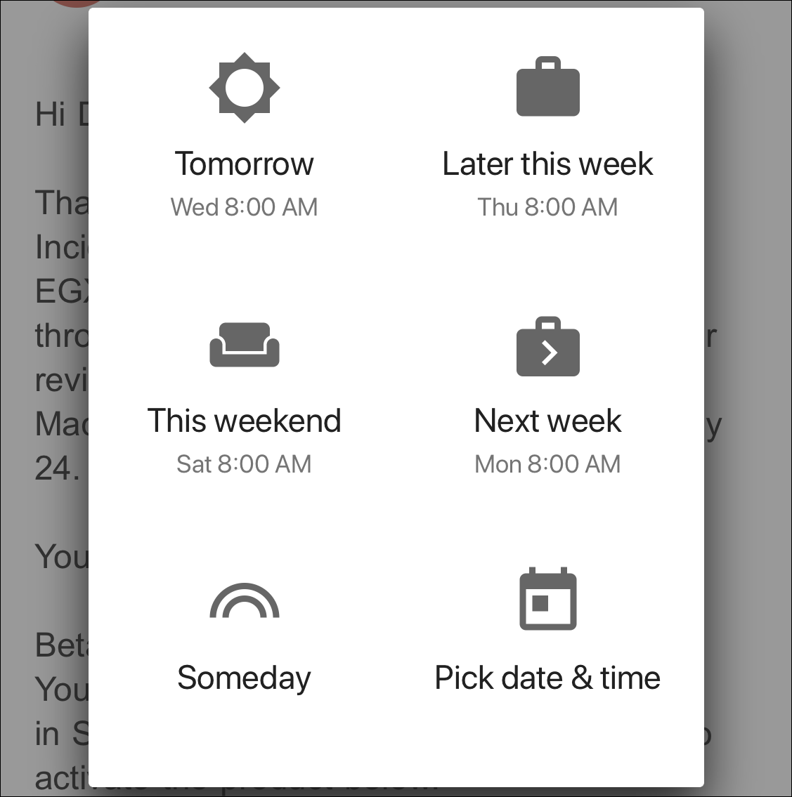 gmail snooze options