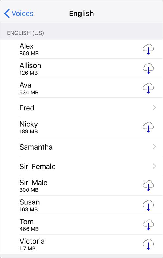 english language voice options, voiceover iphone ios 11
