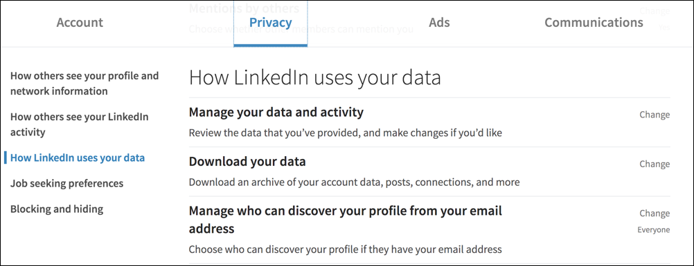 linkedin settings & privacy