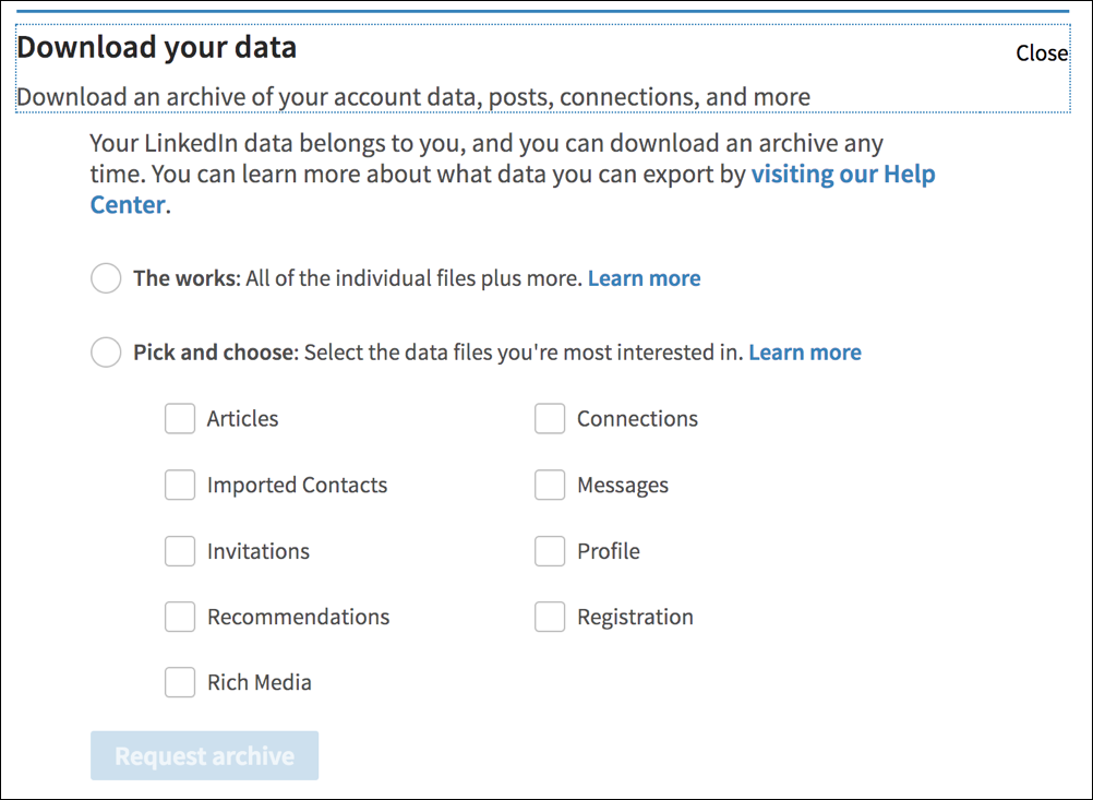 linkedin download your data