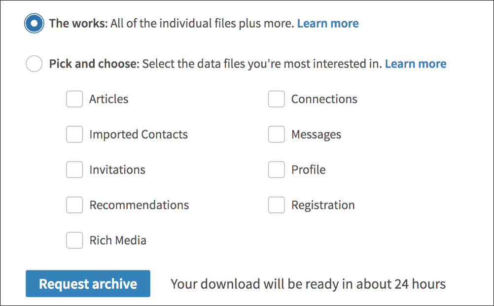 download all my data, linkedin