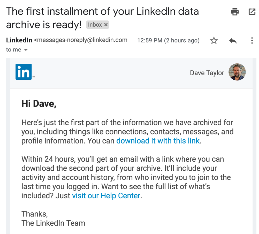 linkedin data backup profile account download ready email