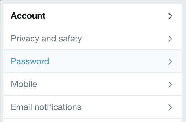Twitter > Settings > Password