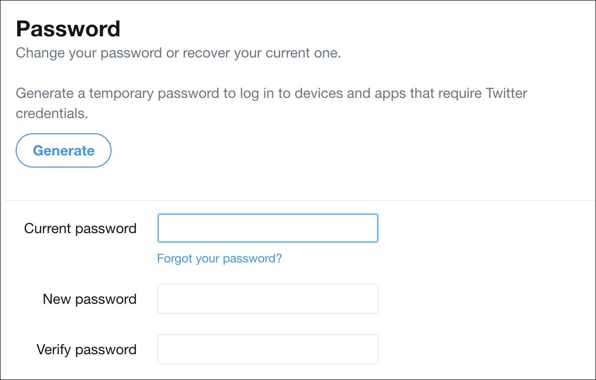twitter change password