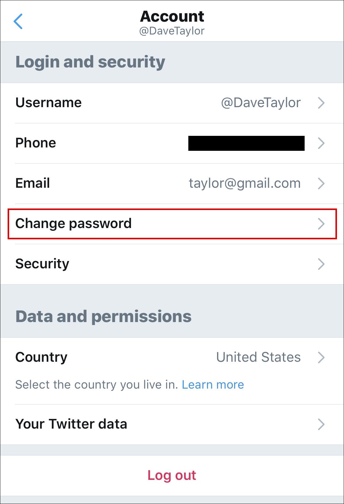 twitter iphone app change password account