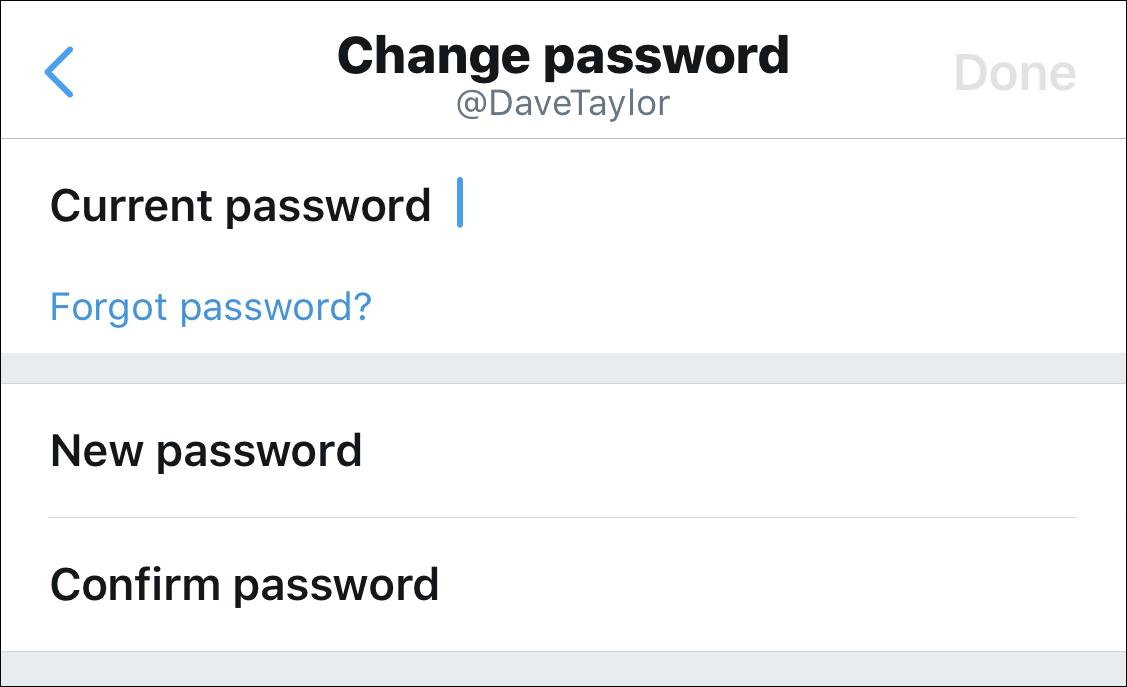 twitter iphone change password security
