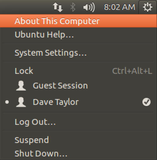 ubuntu linux main system menu about this computer