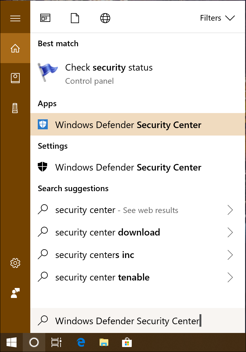 win10 cortana search 'windows defender control'