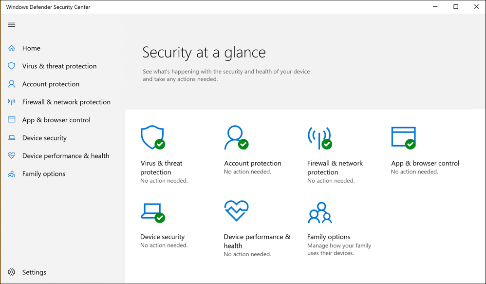 win10 security defender main screen