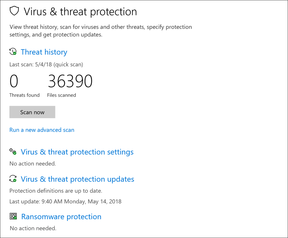 anti-virus scan windows defender win10