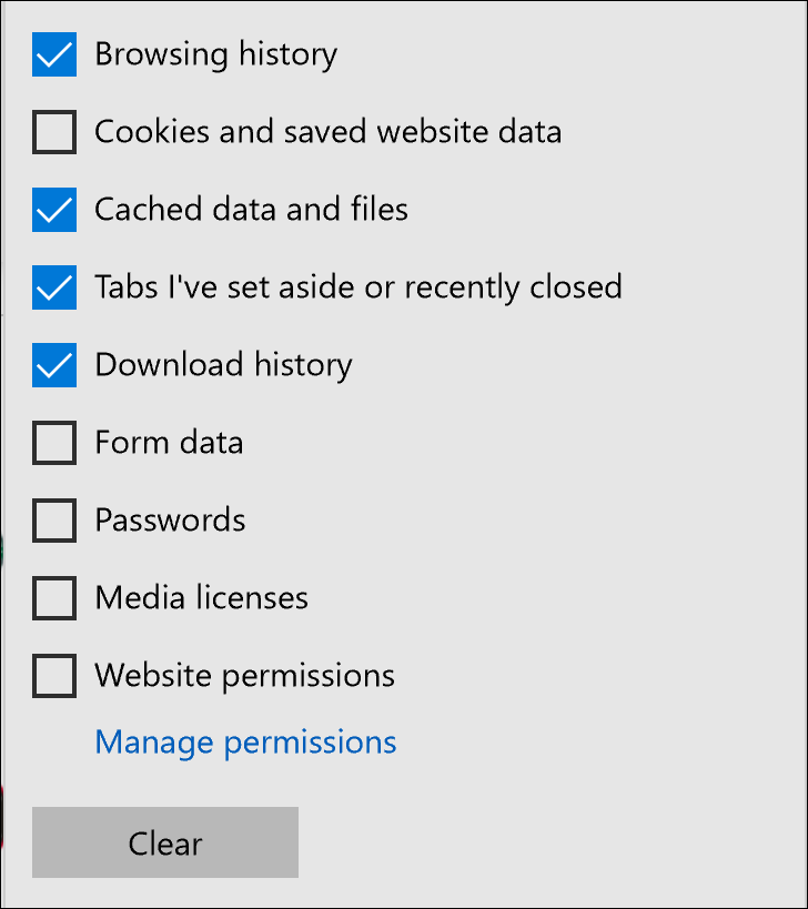 recommended clear cache history microsoft edge browser