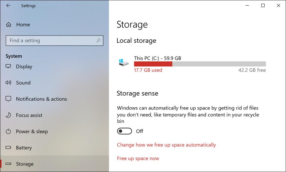 windows 10 win10 storage sense disk space management