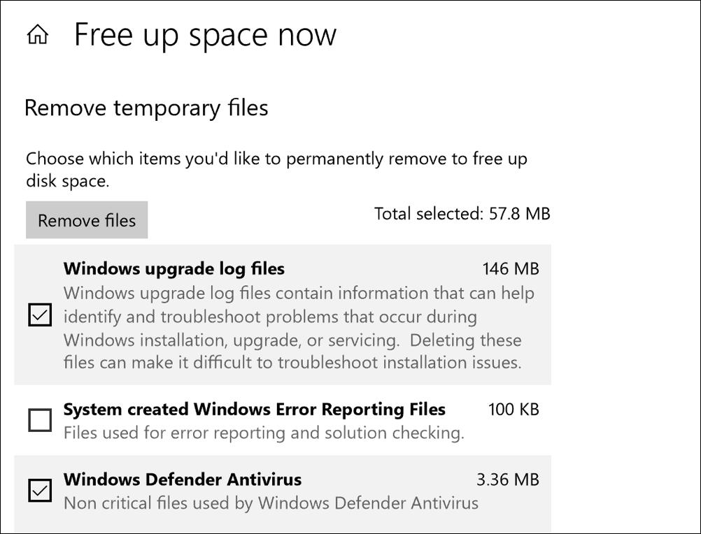 win10 storage sense - free up space now