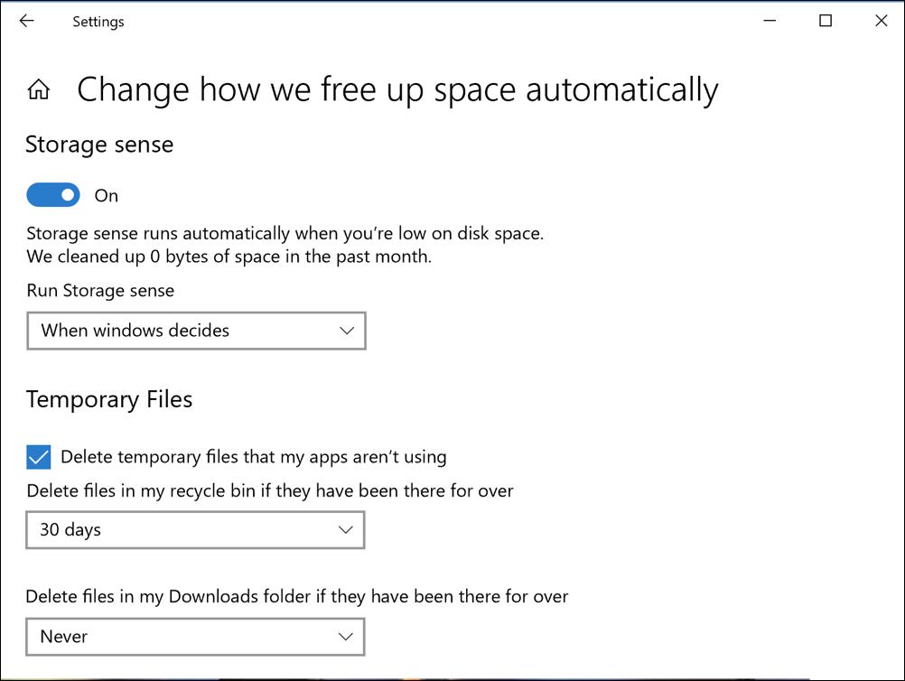 configure settings storage sense win10