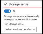 windows 10 disk space storage management: storage sense