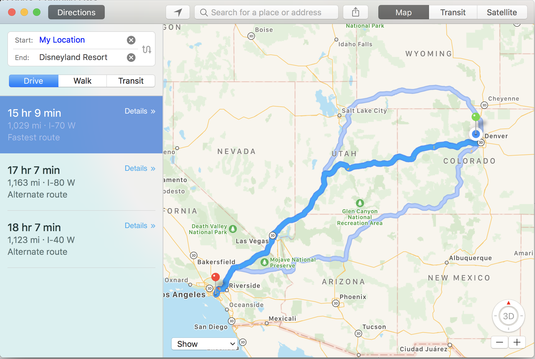 directions to disneyland from denver, colorado - apple maps