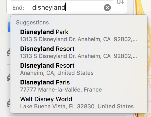 apple maps - directions to disneyland