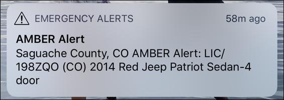 sample iphone amber alert