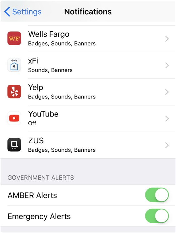 ios 11 iphone disable emergency alerts amber alerts